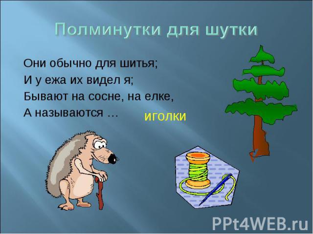 Полминутки для шутки Они обычно для шитья;И у ежа их видел я;Бывают на сосне, на елке, А называются …
