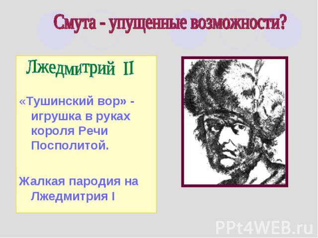 Смута - упущенные возможности? Лжедмитрий II«Тушинский вор» - игрушка в руках короля Речи Посполитой.Жалкая пародия на Лжедмитрия I