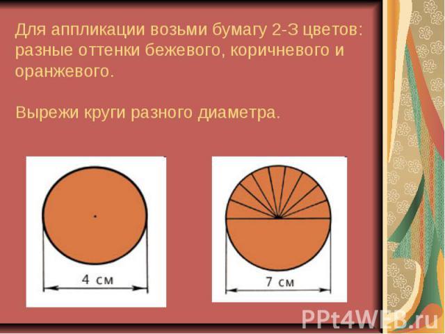 Для аппликации возьми бумагу 2-З цветов: разные оттенки бежевого, коричневого и оранжевого.Вырежи круги разного диаметра.