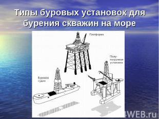 Типы буровых установок для бурения скважин на море