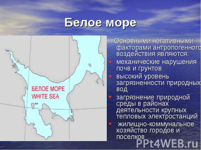 Белое море Основными негативными факторами антропогенного воздействия являются:механические нарушения почв и грунтов высокий уровень загрязненности природных вод загрязнение природной среды в районах деятельности крупных тепловых электростанций жили…