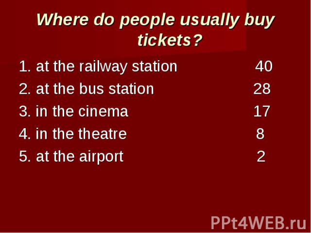 Where do people usually buy tickets? 1. at the railway station 402. at the bus station 283. in the cinema 174. in the theatre 85. at the airport 2