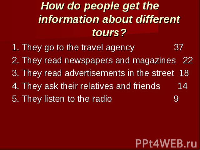 How do people get the information about different tours? 1. They go to the travel agency 372. They read newspapers and magazines 223. They read advertisements in the street 184. They ask their relatives and friends 145. They listen to the radio 9