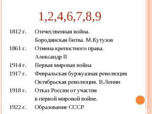 1,2,4,6,7,8,9 Отечественная война. Бородинская битва. М.КутузовОтмена крепостног