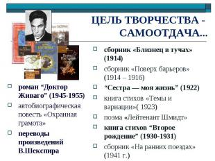 "ЦЕЛЬ ТВОРЧЕСТВА - САМООТДАЧА... роман ""Доктор Живаго"" (1945-1955)автобиографичес"