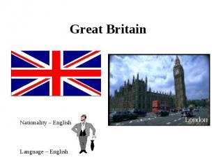 Great Britain Nationality – EnglishLanguage – English