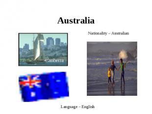 Australia Nationality – AustralianLanguage – English