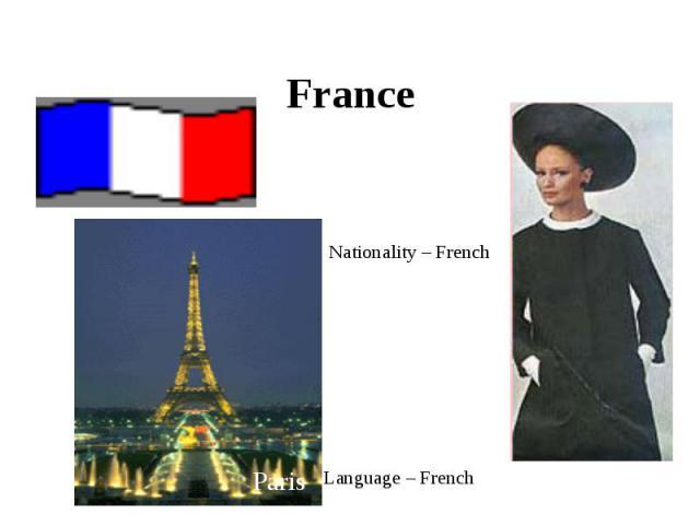 France Nationality – FrenchLanguage – French