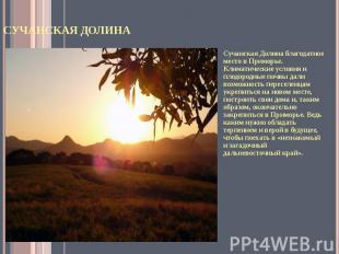 Сучанская Долина Сучанская Долина благодатное место в Приморье. Климатические ус