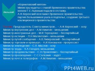 «Корниловский мятеж» Министры-кадеты с главой Временного правительства князем Г.