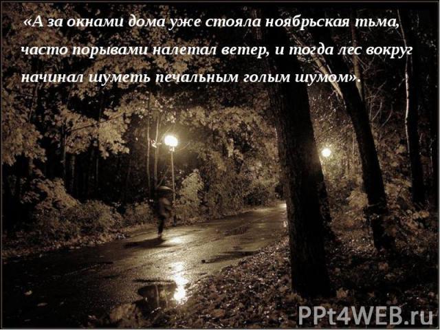 «А за окнами дома уже стояла ноябрьская тьма, часто порывами налетал ветер, и тогда лес вокруг начинал шуметь печальным голым шумом».