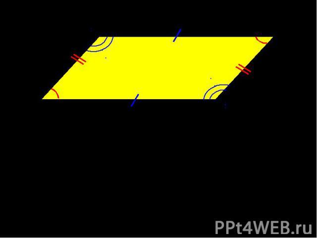 В параллелограмме противоположные стороны равны и противоположные углы равныAB = DC, BC = AD