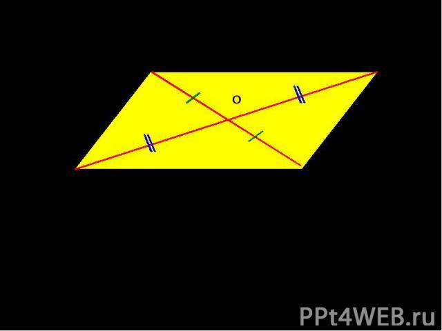 Диагонали параллелограмма точкой пересечения делятся пополамAO = OC, BO = OD