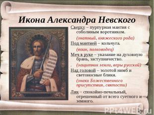 Икона Александра Невского (знатный, княжеского рода)(воин, полководец).(защитник