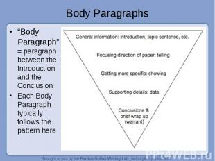 """Body Paragraphs """"Body Paragraph"""" = paragraph between the Introduction and the Co"""