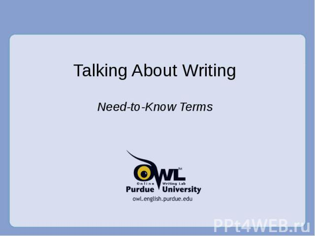 Talking About Writing Need-to-Know Terms