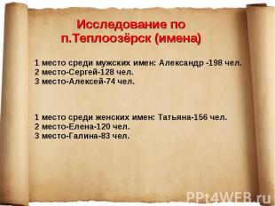 Исследование по п.Теплоозёрск (имена)1 место среди мужских имен: Александр -198
