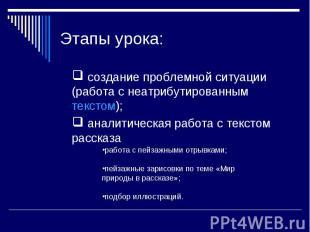 Этапы урока: создание проблемной ситуации (работа с неатрибутированным текстом);
