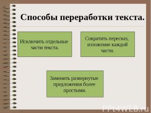 Способы переработки текста.Исключить отдельные части текста.Сократить пересказ,