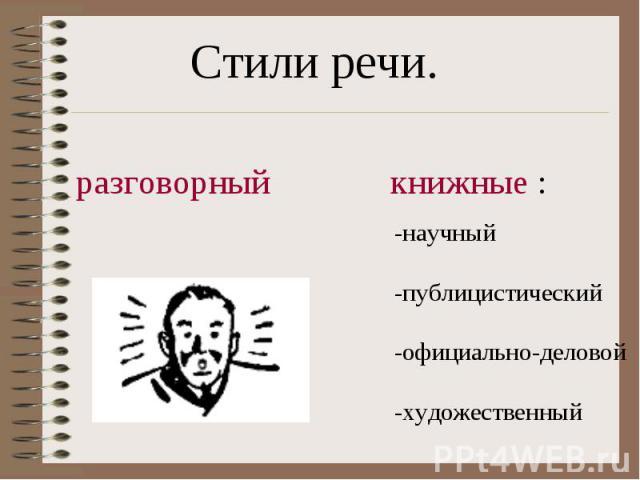 Стили речи.разговорныйкнижные :-научный-публицистический-официально-деловой-художественный