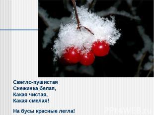 Светло-пушистая Снежинка белая,Какая чистая, Какая смелая! На бусы красные легла