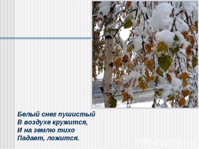 Белый снег пушистыйВ воздухе кружится,И на землю тихоПадает, ложится.