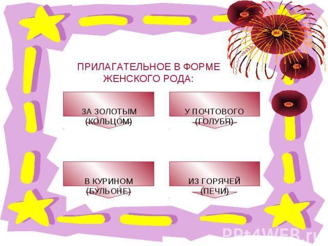 ПРИЛАГАТЕЛЬНОЕ В ФОРМЕ ЖЕНСКОГО РОДА: