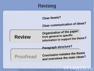 Revising Clear thesis? Clear communication of ideas?Organization of the paper: f