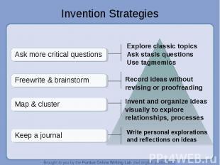 Invention Strategies Explore classic topics Ask stasis questionsUse tagmemicsRec
