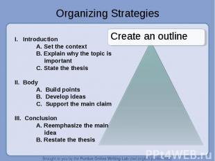 Organizing Strategies Create an outlineI. IntroductionA. Set the contextB. Expla