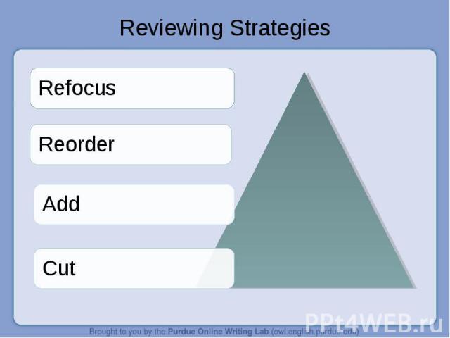 Reviewing Strategies RefocusReorderAddCut
