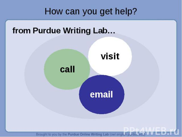How can you get help? from Purdue Writing Lab…