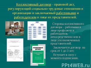 Коллективный договор - правовой акт, регулирующий социально-трудовые отношения в
