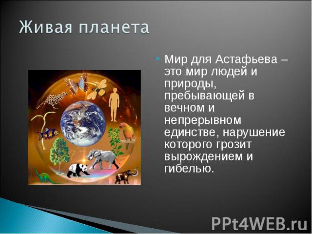 Живая планета Мир для Астафьева – это мир людей и природы, пребывающей в вечном и непрерывном единстве, нарушение которого грозит вырождением и гибелью.