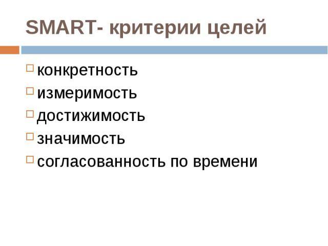 SMART- критерии целей конкретностьизмеримостьдостижимостьзначимостьсогласованность по времени