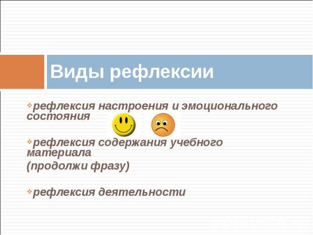 Виды рефлексии рефлексия настроения и эмоционального состояниярефлексия содержания учебного материала(продолжи фразу)рефлексия деятельности