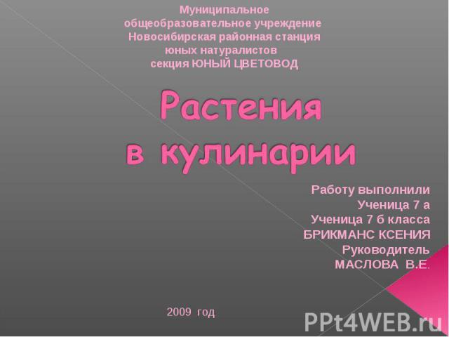 Муниципальное общеобразовательное учреждение Новосибирская районная станция юных натуралистов секция ЮНЫЙ ЦВЕТОВОД Растения в кулинарии Работу выполнилиУченица 7 аУченица 7 б классаБРИКМАНС КСЕНИЯРуководительМАСЛОВА В.Е.