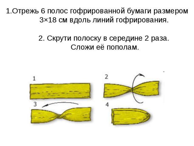 1.Отрежь 6 полос гофрированной бумаги размером 3×18 см вдоль линий гофрирования. 2. Скрути полоску в середине 2 раза. Сложи её пополам.