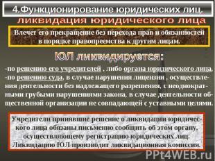4.Функционирование юридических лиц. ликвидация юридического лицаВлечет его прекр