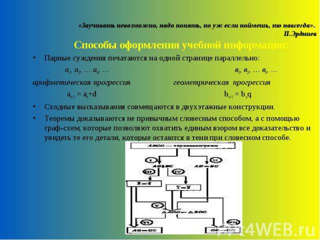 «Заучивать невозможно, надо понять, но уж если поймешь, то навсегда». П.Эрдниев Способы оформления учебной информации: Парные суждения печатаются на одной странице параллельно: а1, а2, … аn, … в1, в2, … вn, …арифметическая прогрессия геометрическая …