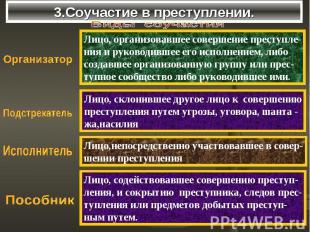 3.Соучастие в преступлении. Лицо, организовавшее совершение преступле-ния и руко