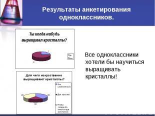 Результаты анкетирования одноклассников. Все одноклассники хотели бы научиться в