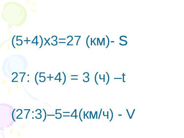 (5+4)х3=27 (км)- S27: (5+4) = 3 (ч) –t(27:3)–5=4(км/ч) - V
