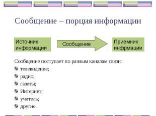 Сообщение – порция информации Сообщение поступает по разным каналам связи:телеви