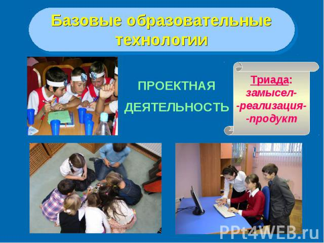Базовые образовательныетехнологииПРОЕКТНАЯДЕЯТЕЛЬНОСТЬТриада:замысел--реализация--продукт