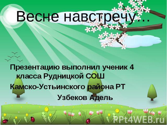Весне навстречу… Презентацию выполнил ученик 4 класса Рудницкой СОШ Камско-Устьинского района РТ Узбеков Адель