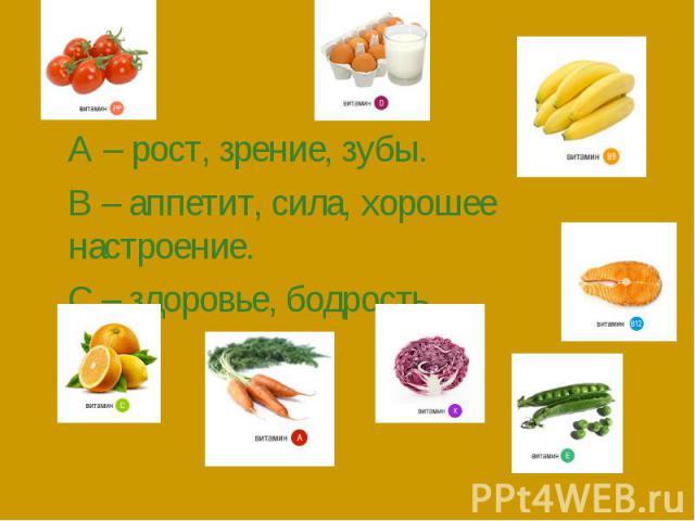 А – рост, зрение, зубы.В – аппетит, сила, хорошее настроение.С – здоровье, бодрость.