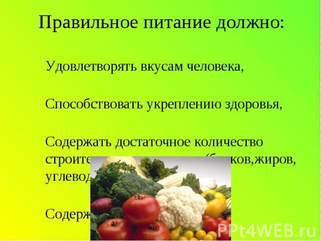 Правильное питание должно: -Удовлетворять вкусам человека,-Способствовать укреплению здоровья,-Содержать достаточное количество строительных материалов(белков,жиров, углеводов,железа и т.д.),-Содержать ВИТАМИНЫ
