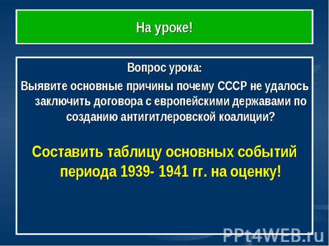 На уроке! Вопрос урока:Выявите основные причины почему СССР не удалось заключить договора с европейскими державами по созданию антигитлеровской коалиции?Составить таблицу основных событий периода 1939- 1941 гг. на оценку!