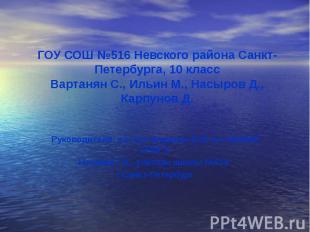ГОУ СОШ №516 Невского района Санкт-Петербурга, 10 классВартанян С., Ильин М., На